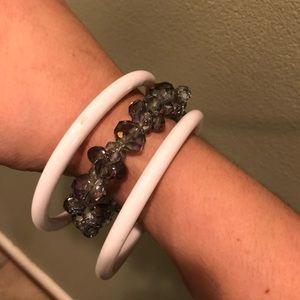 Jewelry - Bangle Bracelet set stretch iridescent purple gray